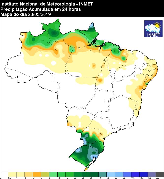 Mapa de precipitação acumulada das últimas 24 horas - Fonte: Inmet