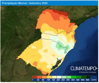 Precipitação Mensal - Setembro 2020 - Sul