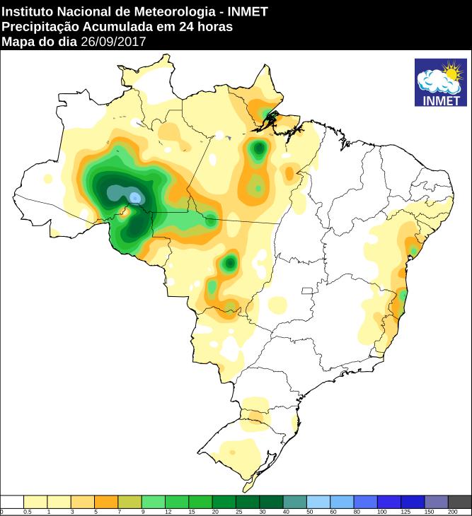 Mapa de precipitação acumulada no Brasil 26/09 - Fonte: Inmet