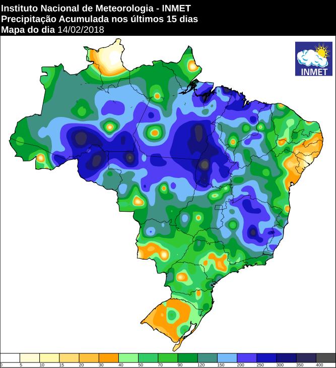 Mapa com a chuva acumulada em todo o Brasil nos últimos 15 dias - Fonte: Inmet