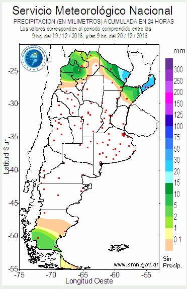 Chuvas acumuladas nas últimas 24h na Argentina - Fonte: SNM