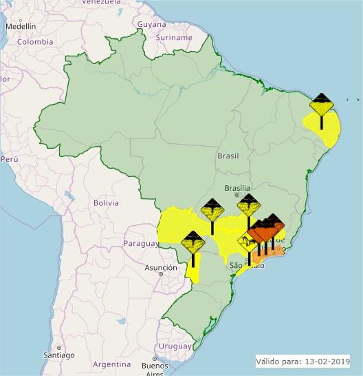 Mapa das áreas com alerta de condição adversa nesta 4ª em todo o Brasil - Fonte: Inmet
