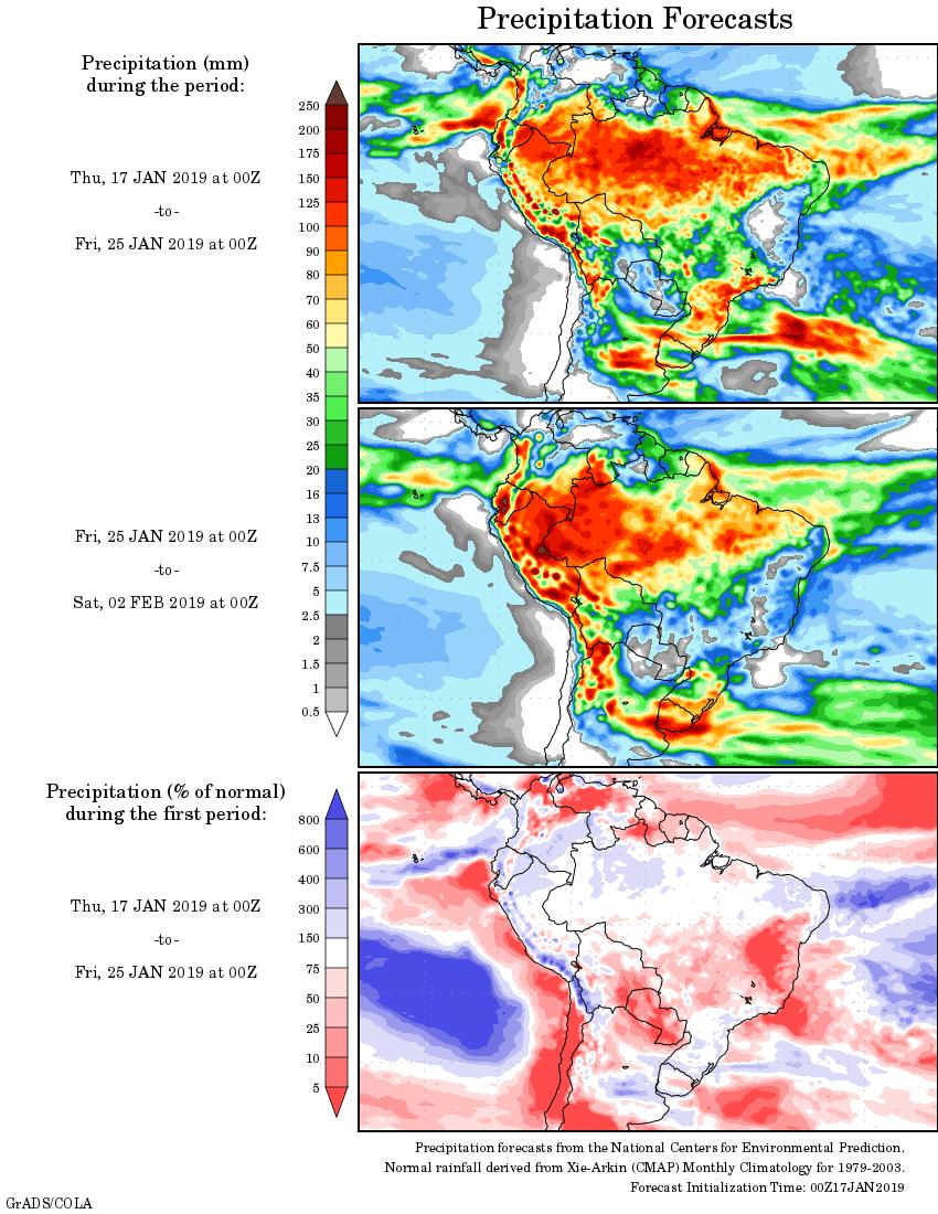 Mapa com a tendência de precipitação acumulada para o período de 17 de janeiro até 02 de fevereiro - Fonte: National Centers for Environmental Prediction/NOAA