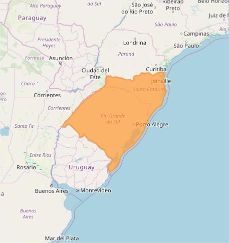 Mapa das áreas com previsão de tempestade nesta 6ª feira - Fonte: Inmet