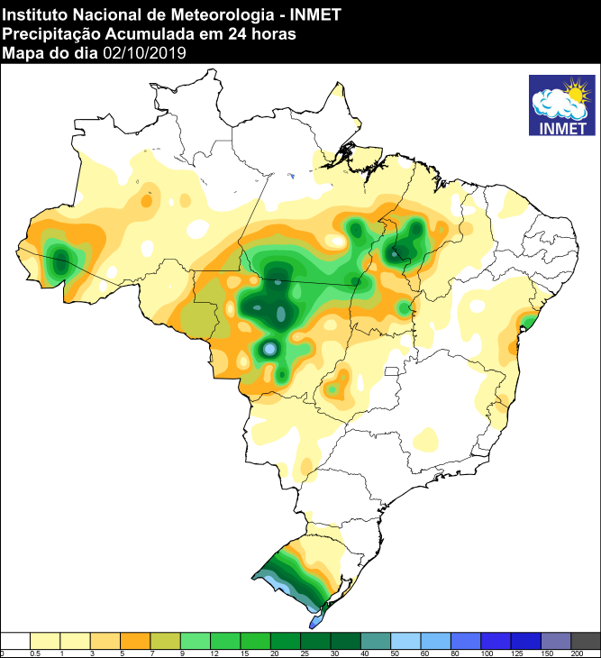 Mapa de precipitação das últimas 24 horas em todo o Brasil - Fonte: Inmet