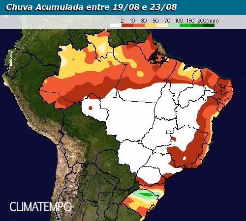 Chuva acumulada entre 19 e 23 de agosto