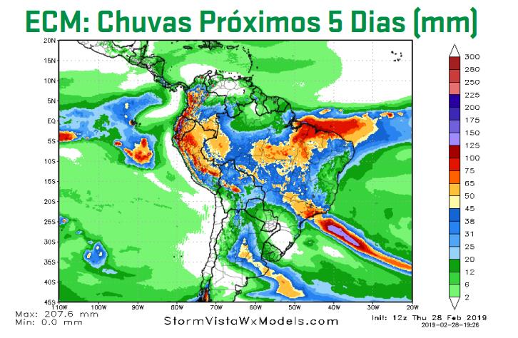 Mapa com a previsão de chuvas acumuladas do modelo GFS para os próximos 5 dias - Fonte: ARC Mercosul (AgResource)