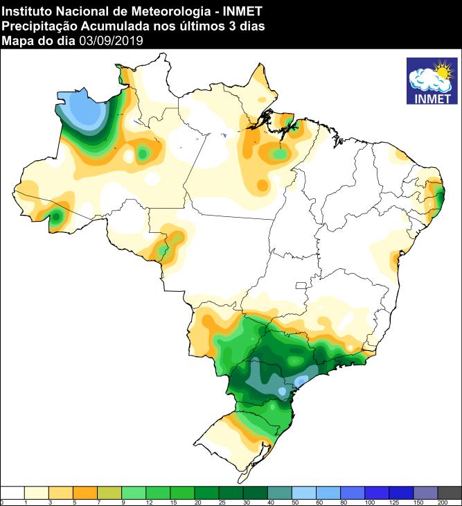 Mapa de precipitação acumulada dos últimos 3 dias em todo o Brasil: Fonte: Inmet