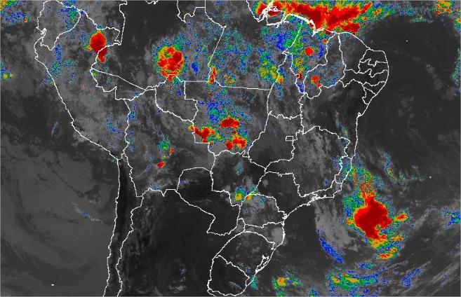Imagem de satélite de todo o Brasil nesta terça-feira (19) - Fonte: Inmet