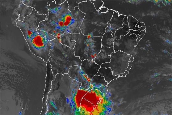 Imagem de satélite de todo o Brasil nesta terça-feira (13) - Fonte: Inmet