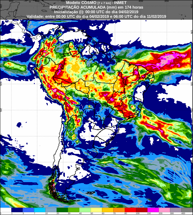 Mapa de previsão de precipitação acumulada do modelo Cosmo para os próximos 7 dias em todo o Brasil - Fonte: Inmet