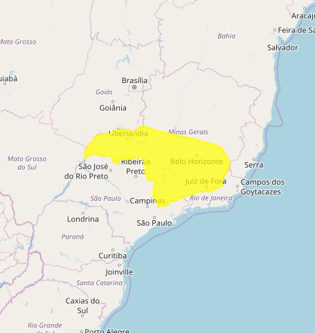 Mapa das áreas com previsão de chuvas intensas nesta 3ª feira / MG - Fonte: Inmet