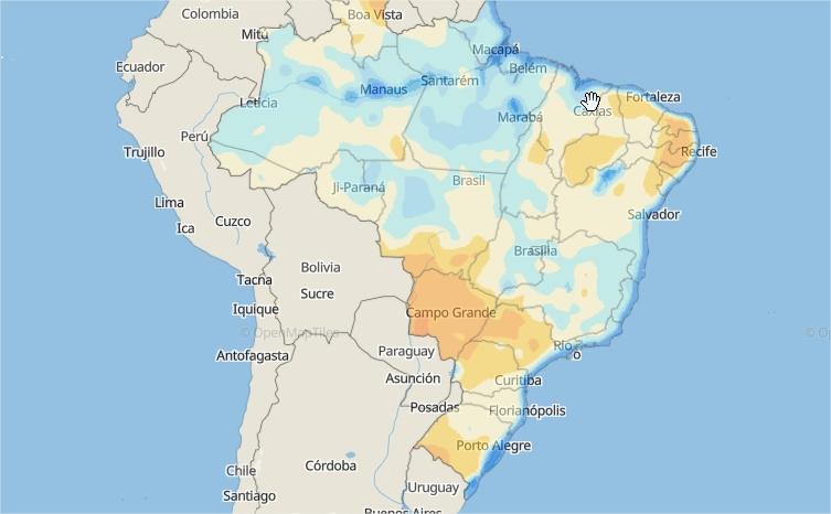 Mapa das áreas com a água disponível no solo em todo o Brasil - Fonte: Climatempo