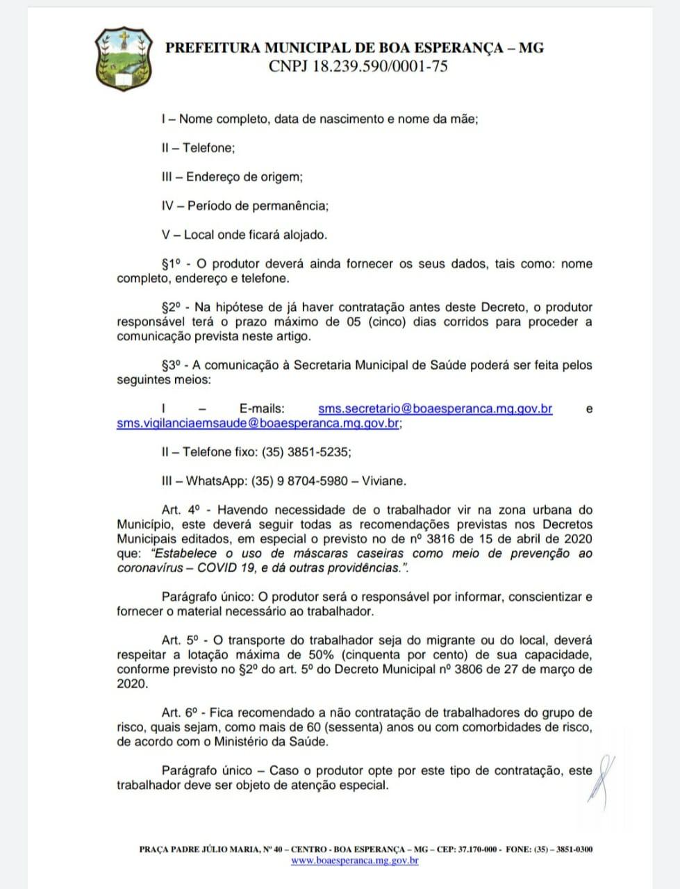 Decreto Boa Esperança/MG