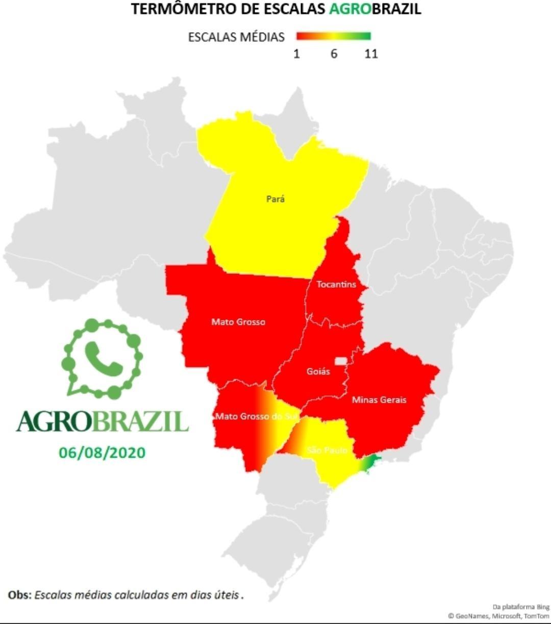 Escalas de abate no país elaborado pelo o aplicativo da Agrobrazil