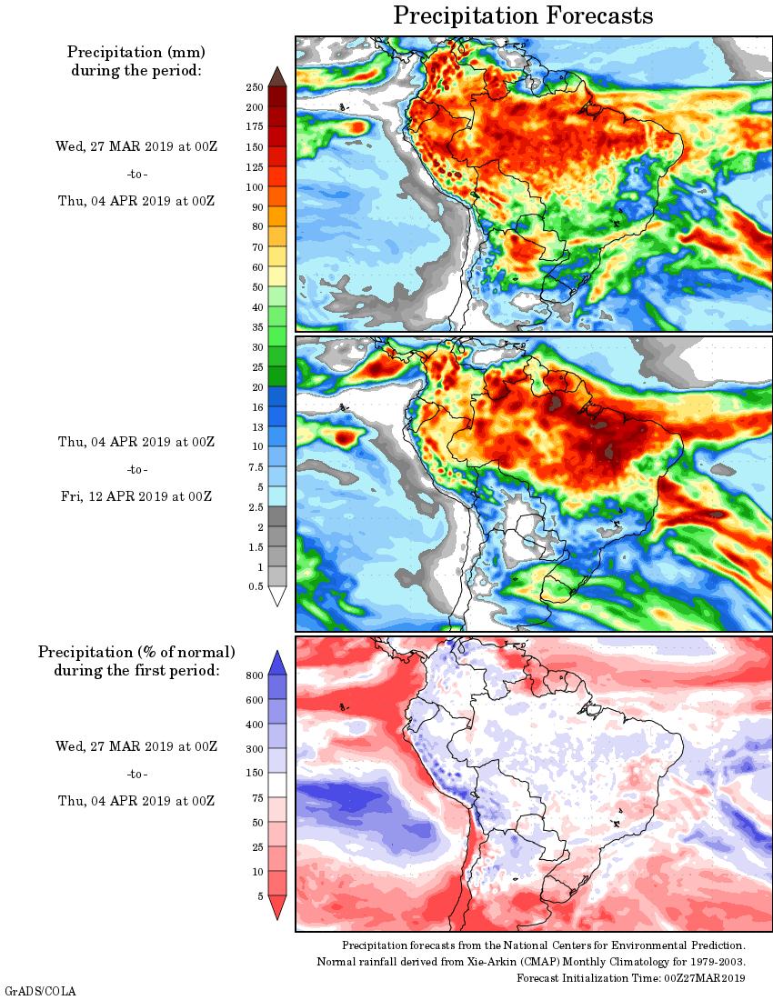Mapa com a tendência de precipitação acumulada para o período de 27 de março até 12 de abril - Fonte: National Centers for Environmental Prediction/NOAA