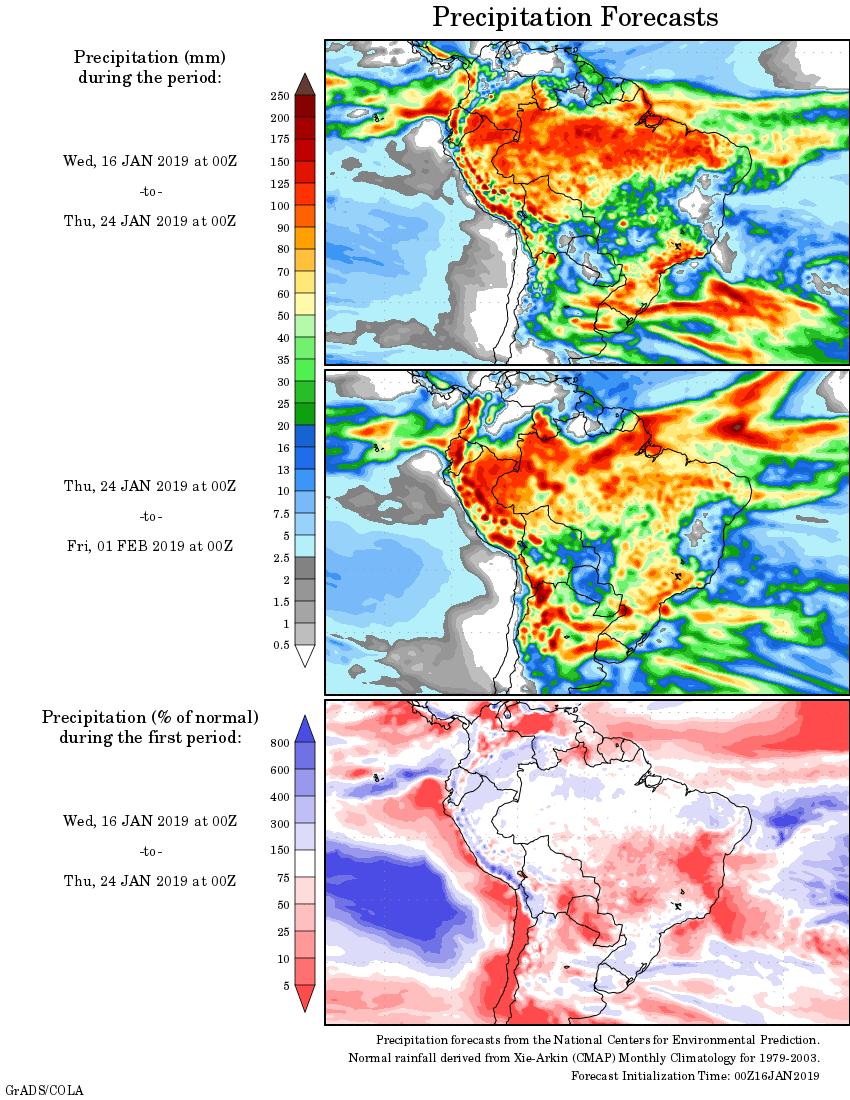 Mapa com a tendência de precipitação acumulada para o período de 16 de janeiro até 01 de fevereiro - Fonte: National Centers for Environmental Prediction/NOAA