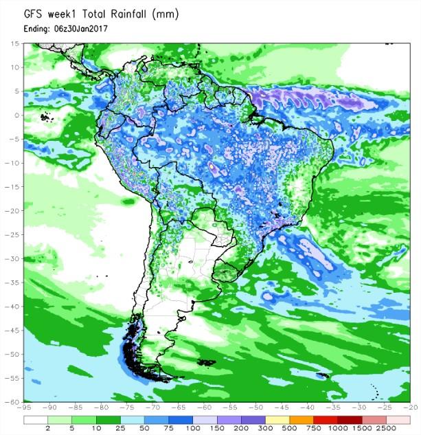Previsão de Chuvas para a América do Sul - Fonte: NOAA