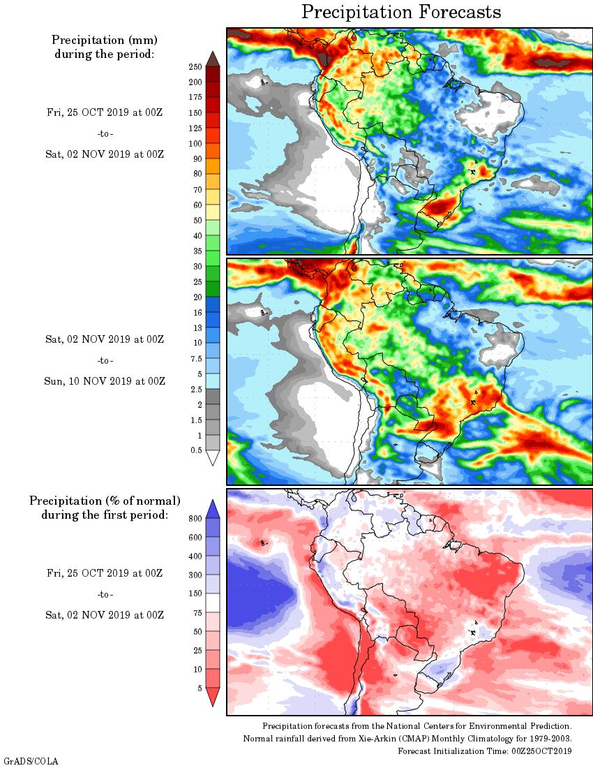 Mapa com a tendência de precipitação acumulada para o período de 25 de outubro até 10 de novembro - Fonte: National Centers for Environmental Prediction/NOAA