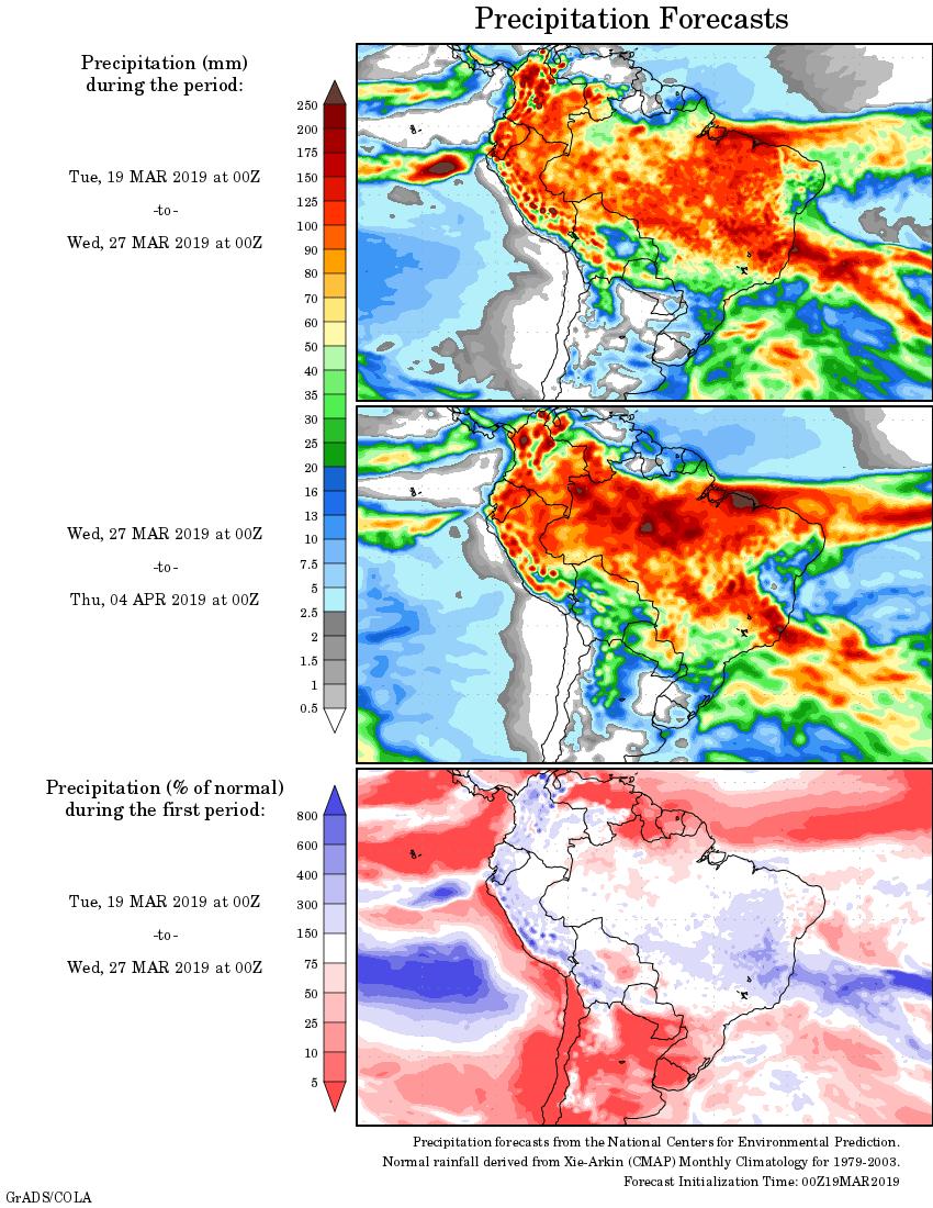 Mapa com a tendência de precipitação acumulada para o período de 19 de março até 04 de abril - Fonte: National Centers for Environmental Prediction/NOAA