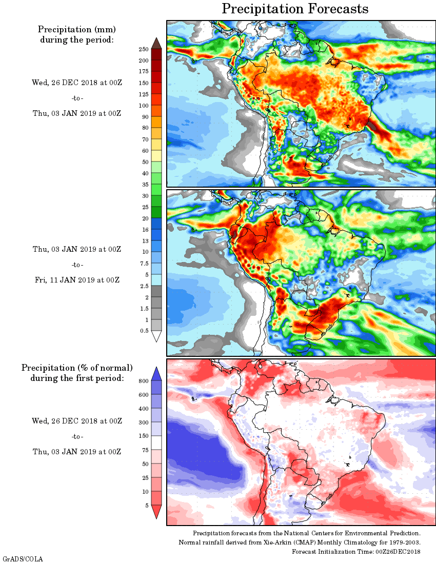 Mapa com a tendência de precipitação acumulada para o período de 26 de dezembro até 11 de janeiro - Fonte: National Centers for Environmental Prediction/NOAA