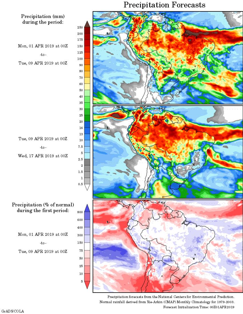 Mapa com a tendência de precipitação acumulada para o período de 01 de abril até 17 de abril - Fonte: National Centers for Environmental Prediction/NOAA