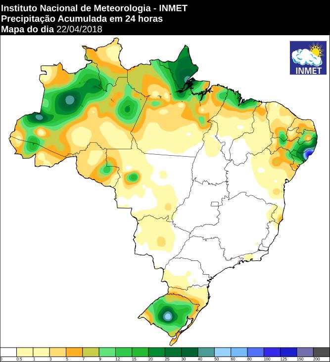 Mapa com precipitação acumulada nas últimas 24 horas em todo o Brasil - Fonte: Inmet