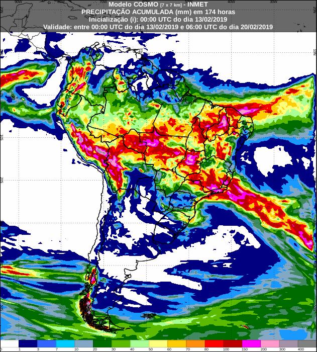Mapa de precipitação acumulada para os próximos 7 dias em todo o Brasil - Fonte: Inmet