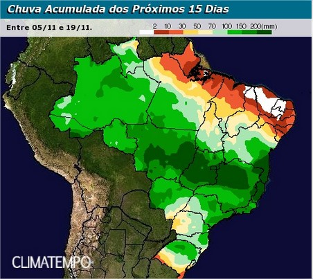 Chuvas previstas para os próximos 15 dias