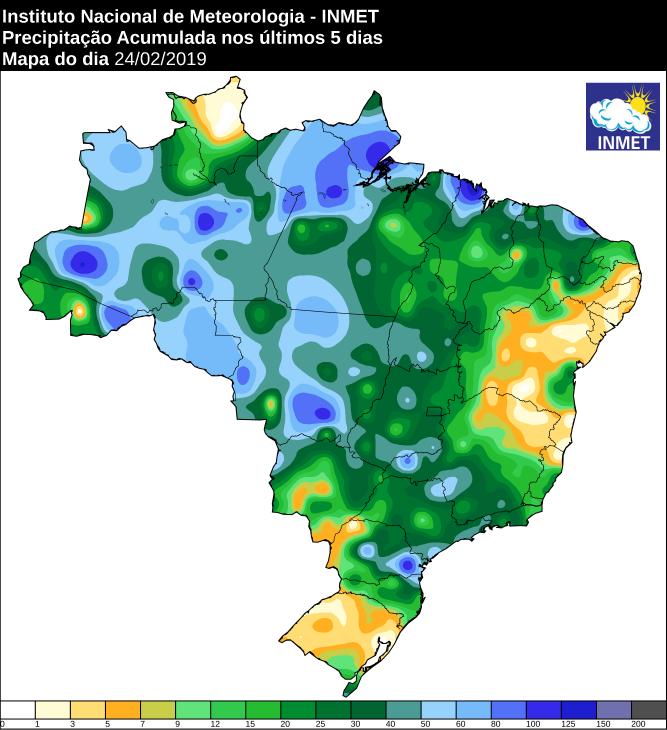 Mapa de precipitação acumulada nos últimos 5 dias em todo o país - Fonte: Inmet