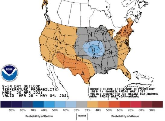 Clima nos EUA 28/04 a 04/05 2021