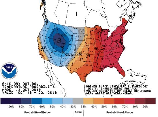 Temperaturas nos EUA 6 a 10 dias