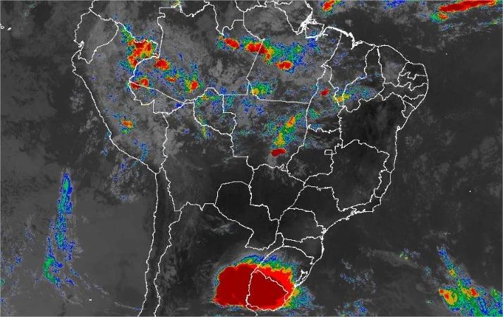 Imagem de satélite de todo o Brasil nesta quarta-feira (23) - Fonte: Inmet