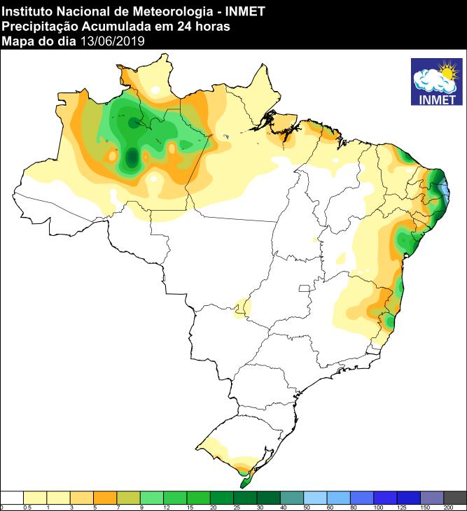 Mapa de precipitação acumulada nas últimas 24 horas - Fonte: Inmet