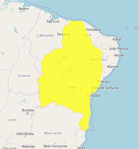 Mapa das áreas com alerta de chuvas intensas nesta 5ª feira - Fonte: Inmet