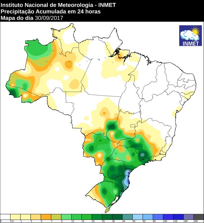 Mapa de precipitação acumulada no Brasil 30/09 - Fonte: Inmet