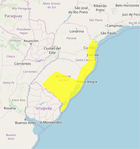 Mapa das áreas com alerta de tempestade nesta 5ª feira - Fonte: Inmet
