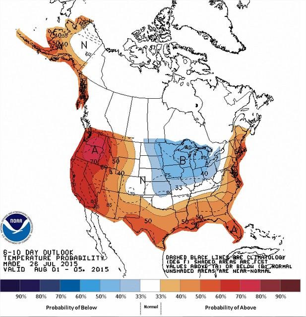 Temperaturas nos EUA entre os dias 01 e 05 de agosto - Fonte: NOAA