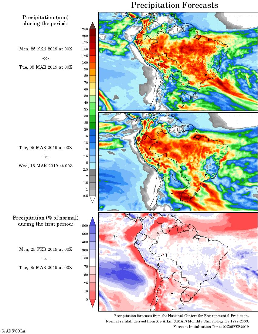 Mapa com a tendência de precipitação acumulada para o período de 25 de fevereiro até 13 de março - Fonte: National Centers for Environmental Prediction/NOAA