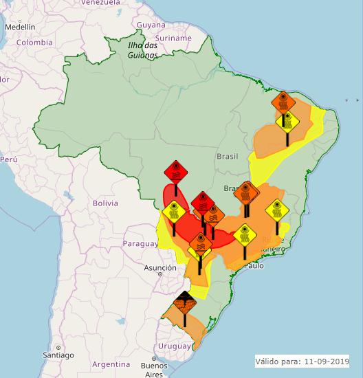 Mapa das áreas com alertas nesta 4ª feira em todo o Brasil - Fonte: Inmet