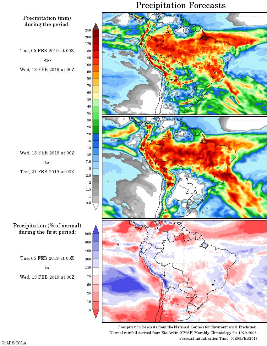 Mapa com a tendência de precipitação acumulada para o período de 05 de fevereiro até 21 de fevereiro - Fonte: National Centers for Environmental Prediction/NOAA