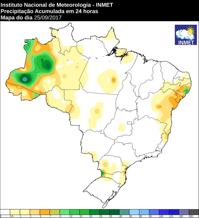 Mapa de precipitação acumulada no Brasil 25/09 - Fonte: Inmet