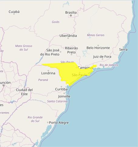 Mapa das áreas com alerta nesta 6ª feira - Fonte: Inmet