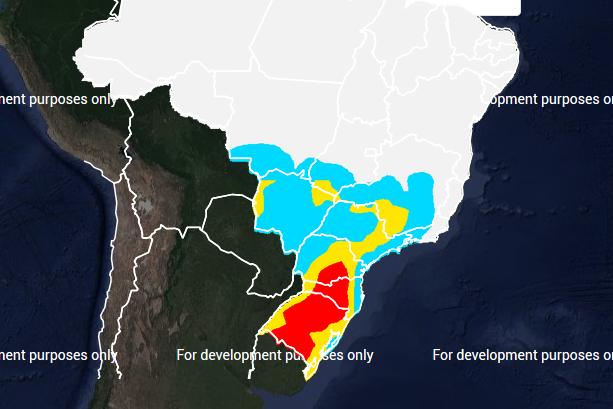 Mapa das áreas com previsão de geada no dia 07 de julho - Fonte: Inmet