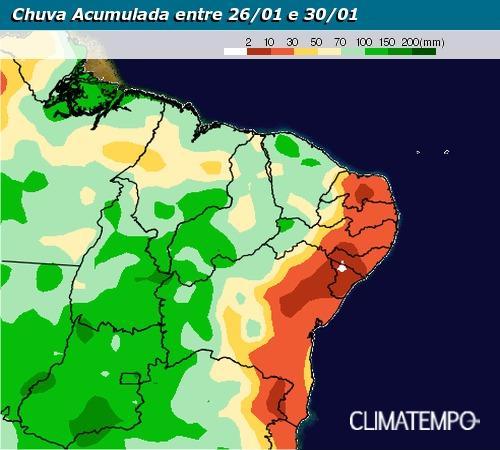Chuva acumulada de 26/01 até 30/01 no Nordeste - Fonte: Climatempo