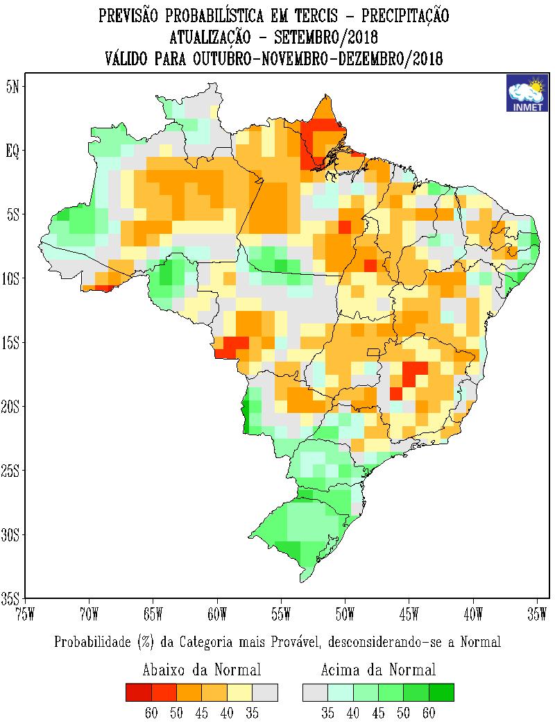 Mapa com a previsão probabilística para  outubro, novembro e dezembro - Fonte: Inmet