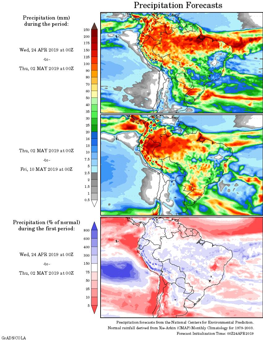 Mapa com a tendência de precipitação acumulada para o período de 24 de abril até 10 de maio - Fonte: National Centers for Environmental Prediction/NOAA