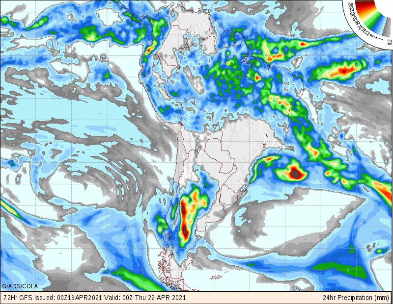 Previsão de chuvas semanal - GFS - 1904