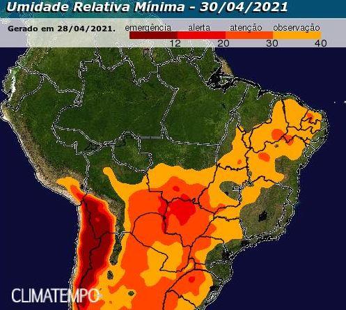 Previsão umidade relativa do ar - Climatempo - 300421
