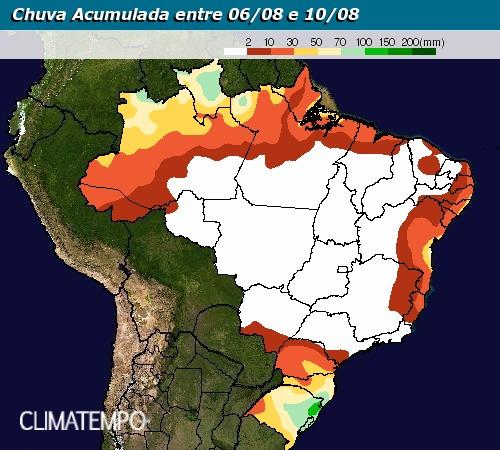 Chuva acumulada entre 6 e 10 de agosto